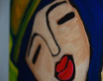 "Original Acrylic Painting 2013 ""MusicGirl"" 7.5 x 10.75"