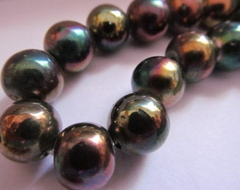 Vintage Glass Beads (2) Copper Luster AB Beads