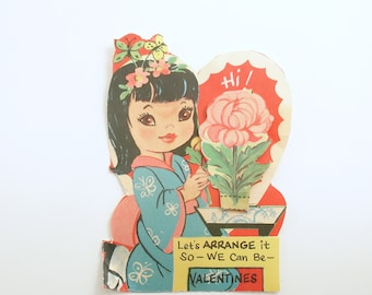 Vintage Valentine Card Geisha Peony 3 D Valentine Decoration