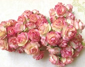Handmade NEW 2 Tone Pink/ Light Yellow paper Roses Supplies - 10 Stalks