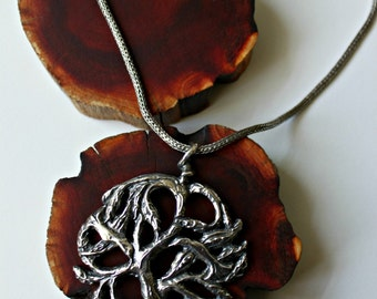 tree of life silver pendant necklace handmade