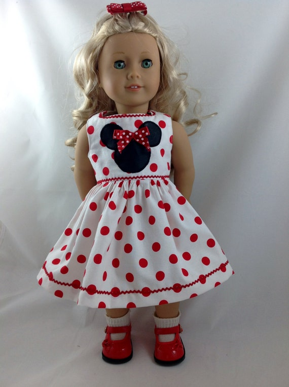 American Girl Doll Dress Mickey Minnie Mouse Polka By