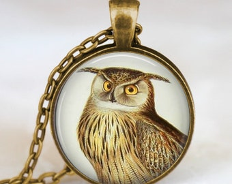Vintage Owl necklace  , vintage owl pendant , owl necklace, woodland animals jewelry, forest bird , owl charm