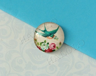 4pcs handmade green bird round clear glass dome cabochons 25mm (250650)