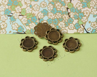 10 pcs antique bronze round base - for 12mm round cabochons. BN312