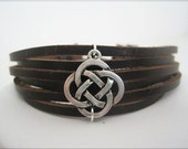 Brown Cuff with Silver/Copper/Gold Celtic Center--BIG SALE now in SHOP
