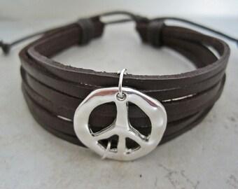 Silver Peace Sign Leather Wrap Bracelet Cuff