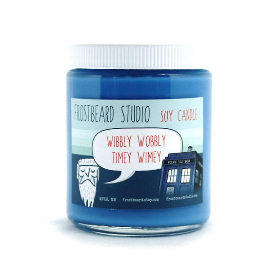 Wibbly Wobbly Timey Wimey -- Book Lovers' Soy Candle -- 8oz jar