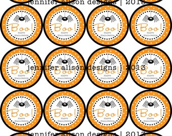 INSTANT DOWNLOAD / Halloween Boo Spider printable Party Circles / Cupcake Topper / Stickers / Thank You Tags