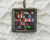 Glass Pane Necklace Fine Art Photography, Metallic Photo Paper Yarn Store,  Stacks of Yarn, Knitter Gift Idea, by artist J. L. Fleckenstein