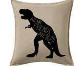 Dinosaur pillow, all my friends are dead throw pillow cover, geekery, geek decor
