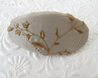 Taupe barrette, bridal barrette, fabric barrette, oval barrette, hair accessory, fashion accessory, womens accessory