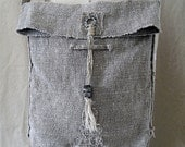 "Wabi-Sabi Vintage Linen Shoulder Bag, 9"" x 10"" with 35"" x 1"" shoulder strap with hand-plied linen cord and steel metal clay closure"