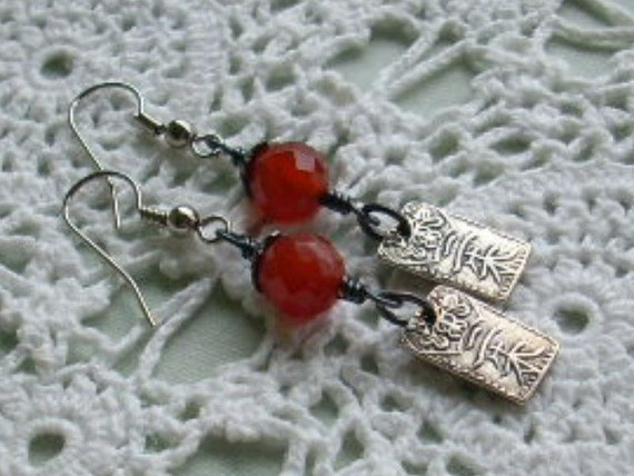 Burnt Orange Carnelian Gemstone Wire Wrapped Earrings with Japanese Coin Charms