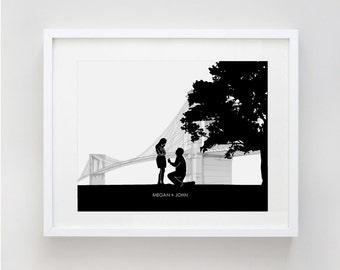 Brooklyn Bridge Engagement Gift, Custom Silhouette Art Print, Couple Silhouettes, A Walk in the Park, Made From Your Photo