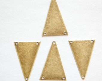 3 Hole Brass Ox Geometric Narrow Triangle Pendant Charm (6) mtl368F
