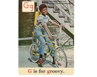 Back to School Alphabet // ABC Postcards // 1970s Reproduction // Black ABCs // Post Cards
