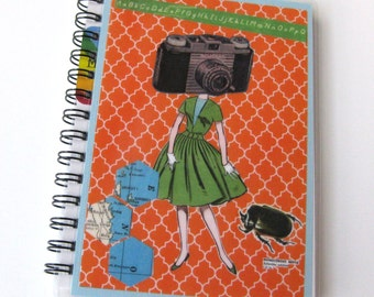 Collage Art Notebook // Camera Girl in Orange