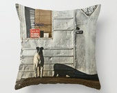 Fathers Day - Man Cave Dog Guarding the Store Closed Sign - PILLOW - Mans Best Friend doing what they do - watchdog art - manly art