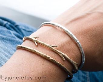 Bronze Twig Cuff Bracelet| Nature Inspired Bracelets,| Stacking Bracelets
