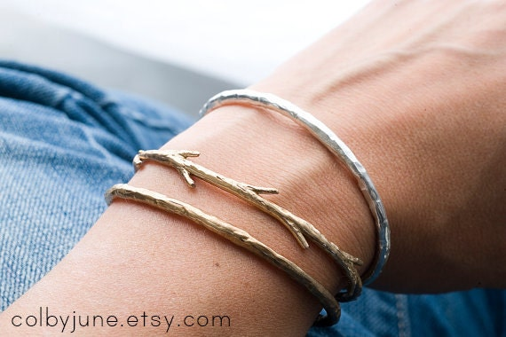 Bronze Twig Cuff Bracelet| Nature Inspired Bracelets,| Stacking Bracelets
