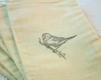Bird Favor Bags Muslin Drawstring Gift Bags SET OF 10