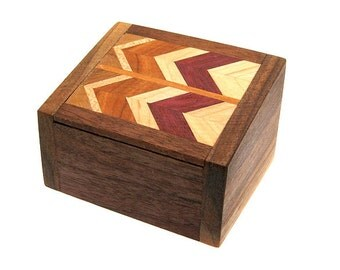 Handcrafted Wood Ring Box Walnut Wood with Laminated Top