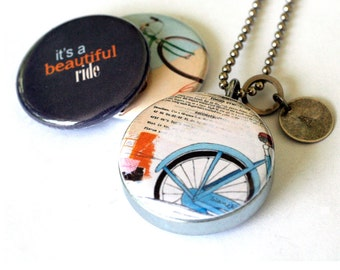 Bike Locket Necklace, Bike Jewelry, Bike Rider Gift, Bike Art Jewelry, Recycled Steel, 3 Necklaces in 1, Personalized Stamped Initial