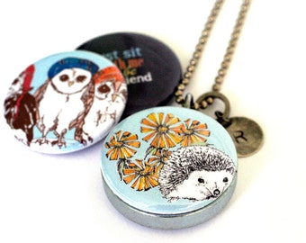 Hedgehog Locket necklace - Typography Quote Locket - Silver, Owls, Friendship, Together, Custom Stamp - Corella Design and Polarity