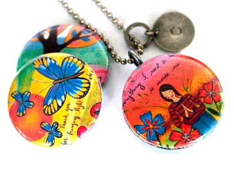 Meditation Locket Necklace, SELF Love Jewelry, Transformational Butterfly, CUSTOM Stamped Initial, Mirror, Recycled by Polarity, Lori Portka