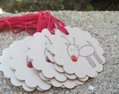 Rudy Reindeer Round Set of 12 Christmas Tags Embellishment. Place Setting. Gift Tags. Goodie Bag Ties. Hostess Gift. Rustic. Natural
