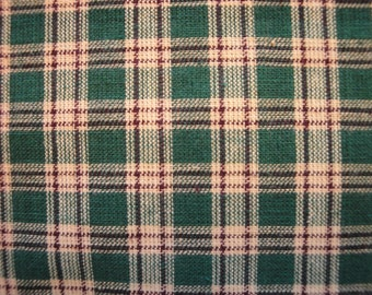 Homespun Fabric | Plaid Fabric | Green, Brown and Natural Plaid | End Of The Bolt  | 1 Yard