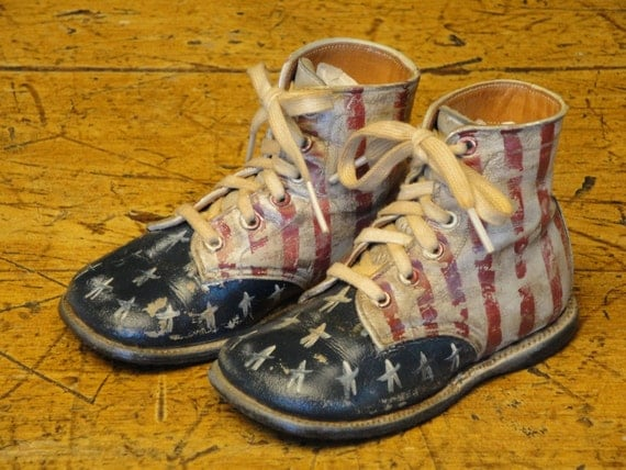 Handpainted Americana Hard Sole Toddler Shoes Stars