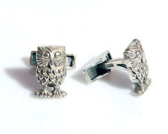 special Listing for JP Silver Owl Cufflinks & penguin charm , Groom Cufflinks, Silver Cufflinks