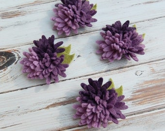 Wool Felt Fabric Flowers - Mini Daisies Purples Trio - Set of 4 with Leaves