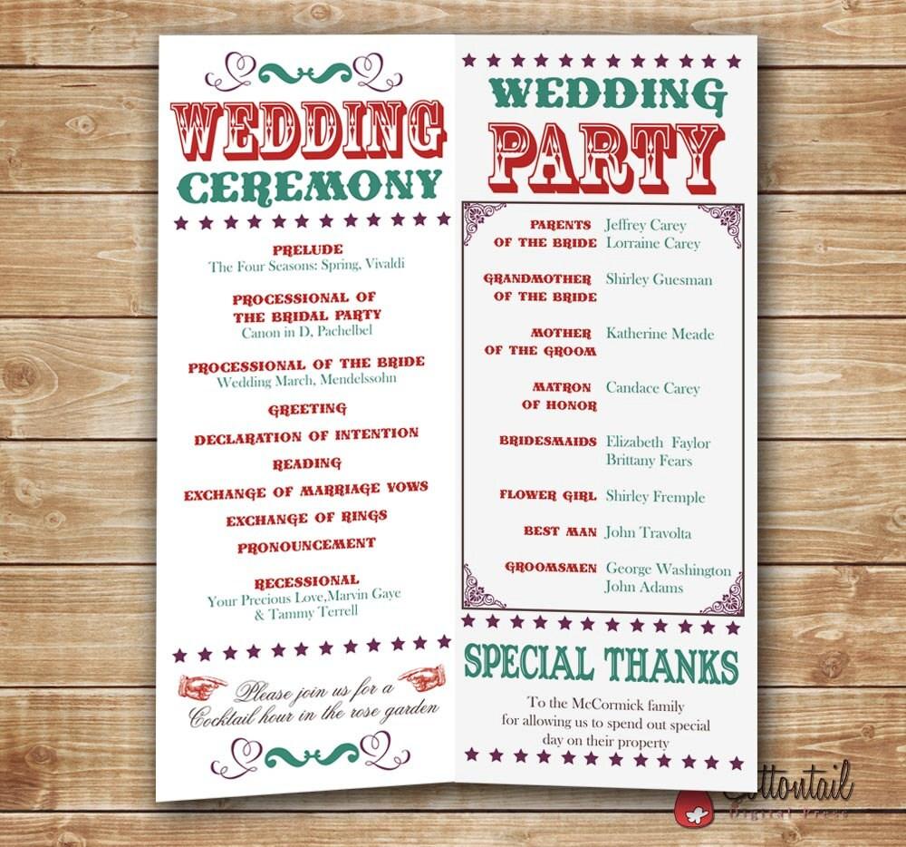 playbill wedding program pdf file for diy by cottontailpress