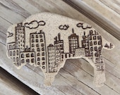 Buffalo With Skyline Natural Stoneware pottery Magnet handmade in Buffalo New York