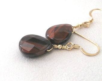 Red Tiger Eye Gemstone Earrings, Iridescent Teardrop Briolettes, Goldfilled Earrings