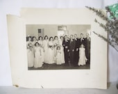 Vintage Wedding Party Photograph - 1940s - Black and White Signed Glenn - Large Party