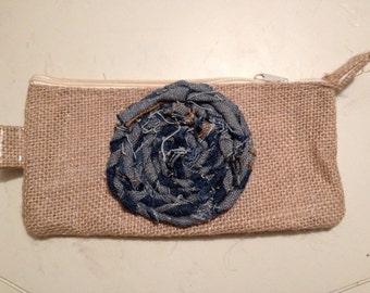 BURLAP and DENIM Rosette Clutch, make-up bag, or pencil pouch