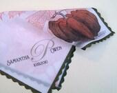 Personalized wedding handkerchief with pumpkin, monogram for bride, mother of bride or groom