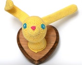 Frank the Bunny Rabbit Crochet Taxidermy in Yellow