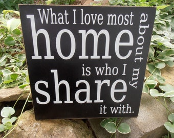 What I love most about my home is who I share it with wood sign wall hanging plaque CUSTOM COLORS