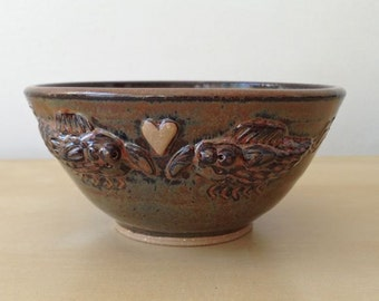 Love Bugs - 10 oz Bowl - Warm brown with two squiggly bugs and a heart