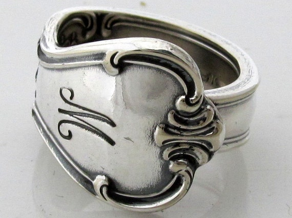 Spoon Ring Size 7 Signature Pattern With an M Monogram