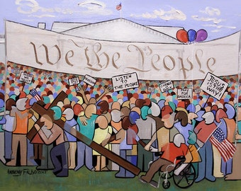 We The People Original Print White House The Constitution Tea Party Anthony Falbo