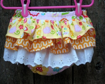 """SALE  """"Sweet""""  Baby and toddler Ruffled Diaper Covers Bloomers, Size 24 Months Ready to ship"""