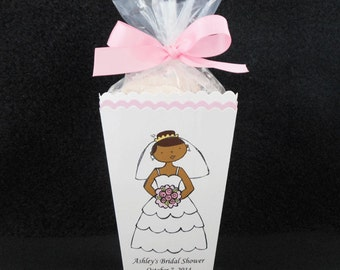 Personalized Bridal Shower Popcorn Box Favor Boxes, bride with pink bouquet, dark hair, dark skin, set of 10