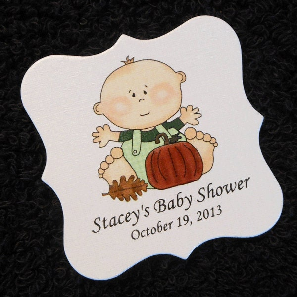 personalized baby shower favor tags baby boy with fall leaf
