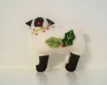 Felt Art Doll Christmas White Sheep Hanging ornament, felt animals, felt Christmas Sheep